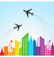 Colorful cityscape scene with aeroplane vector image