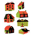 cute with doodle houses architecture vector image vector image