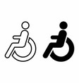disabled wheelchair icons set vector image vector image
