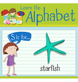 Flashcard letter S is for starfish vector image vector image