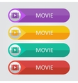 flat buttons movie vector image vector image