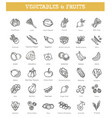 fresh fruit and vegetables icons set vector image vector image