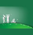 green background happy family having fun playing vector image