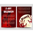 Halloween flyer template with bloody handprints vector image vector image