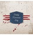 Happy Memorial Day greeting Emblem vector image vector image