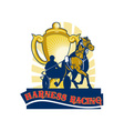 Harness horse race racing championship cup vector image vector image