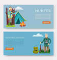 hunters on hunt banners set cartoon vector image
