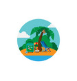 island in the sea with a suitcase a chair and a vector image