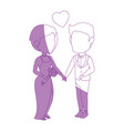 isolated cute newlywed couple vector image vector image