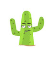isolated uncomfortable cactus character vector image vector image