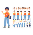 kid constructor boy character various faces vector image