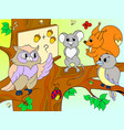 lesson in the school of an owl in the woods color vector image vector image