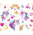 magic unicorn icon seamless pattern with magic vector image vector image