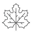 maple leaf thin line icon canada and nature vector image