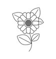 monochrome silhouette of abstract sunflower with vector image vector image