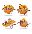 natural honey sticker symbol logo label vector image vector image