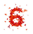 number 6 numbers with origami paper bird on vector image vector image