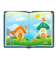 Open book about funny girls and magical world vector image vector image