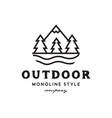 outdoor mountain logo vector image vector image