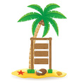 palm tree and wooden pointer board vector image vector image