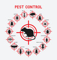 pest control icons set on red target vector image