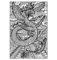 quetzalcoatl feathered serpent engraved fantasy vector image vector image