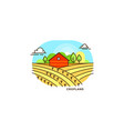 red farmhouse in the field flat vector image vector image