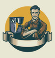 retro design barista posing with the espresso vector image vector image