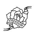 rose tattoo with ribbon and word freedom vector image