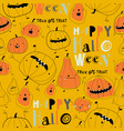 seamless pattern with cartoon pumpkins on yellow vector image