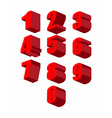 Set 3D red numbers set Zero to ten vector image vector image