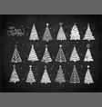set christmas tree doodles hand drawn vector image vector image
