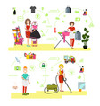 set of cleaning people symbols icons in vector image