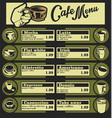 set of coffee menu with a cups of coffee drinks 3 vector image