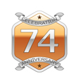 Seventy four years anniversary celebration silver vector image vector image