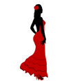 spanish girl in flamenco dress vector image