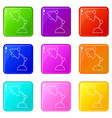 table lamp icons set 9 color collection vector image vector image