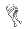 winter earflap hat seasonal cloth retro vector image