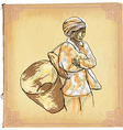 Woman from Laos - An hand drawn sketch freehand vector image