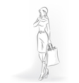 Woman with shopping bag in full length vector image vector image