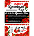 11 november poppy remembrance day poster vector image vector image