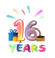 16 years birthday celebration greeting card vector image