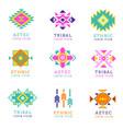 aztec or apache motif style logo set native vector image vector image