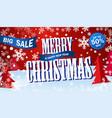 banner big sale horizontal red flyer merry vector image vector image