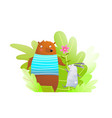 Bear and rabbit animals friendship in forest cute