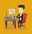 business man searching information on internet vector image vector image