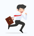 businessman running with a briefcase cartoon vector image