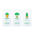 cactus and succulents in pots thin line icons set vector image