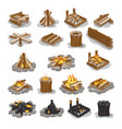 campfire and firewood stages set isolated on white vector image vector image