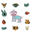 cartoon flat animals set icon stickers vector image vector image